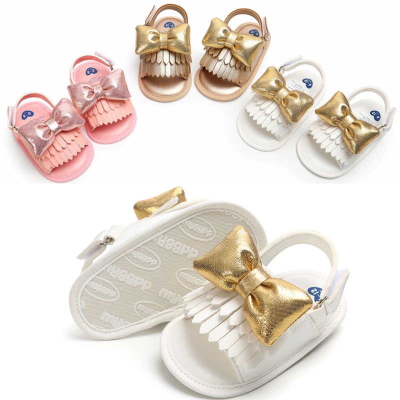 Baby Shoes Soft Leather Hot Toddler Infant Walking Crawling Pram Non Slip Soles Butterfly 0-1 Year Sandals