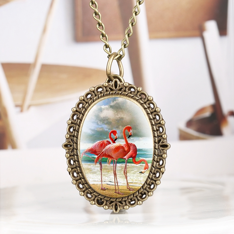 Creative Jewelry New Pink Flamingo Necklace For Women Cute Bird Animal Enamel Charming Oval Pendant Metal Necklace Pocket Watch