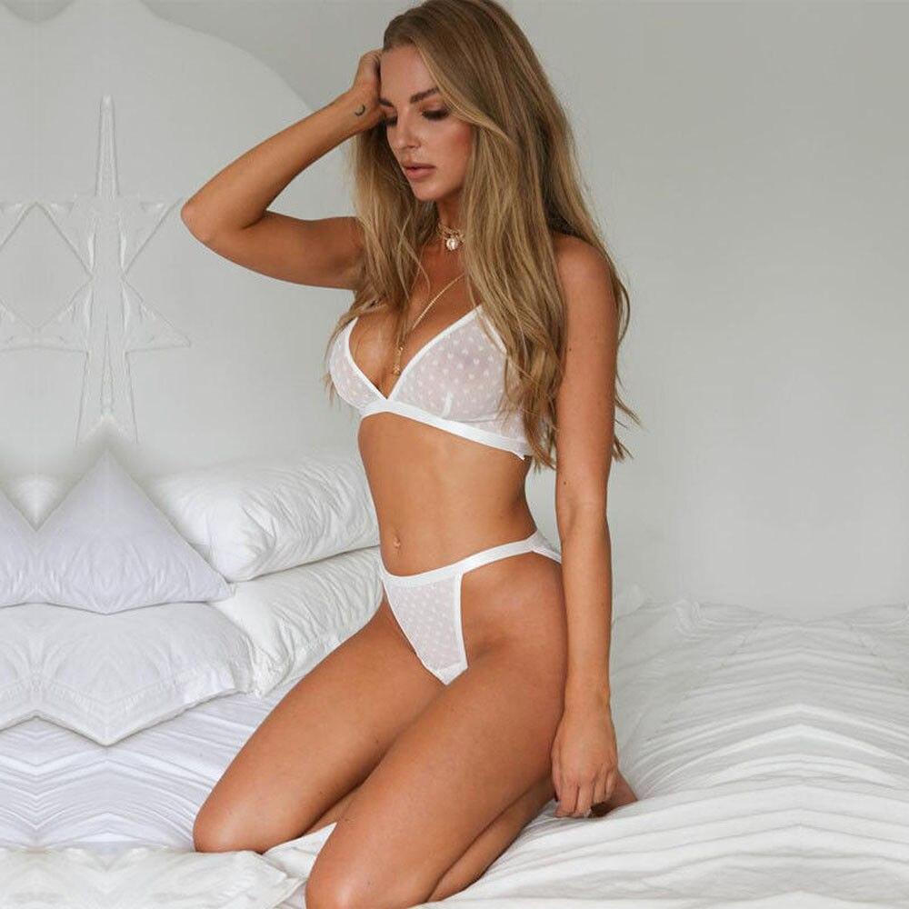 2pcs Set Women Sexy Lingerie Satin Lace Sleepwear Babydoll Lingerie Nightdress Pajamas Set 4