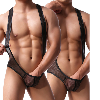 Transparent Mesh Thong Bodysuit Men See Through Jockstrap Sexy Body Suit Gay Underwear Erotic Bodywear Male Lingerie Clothing