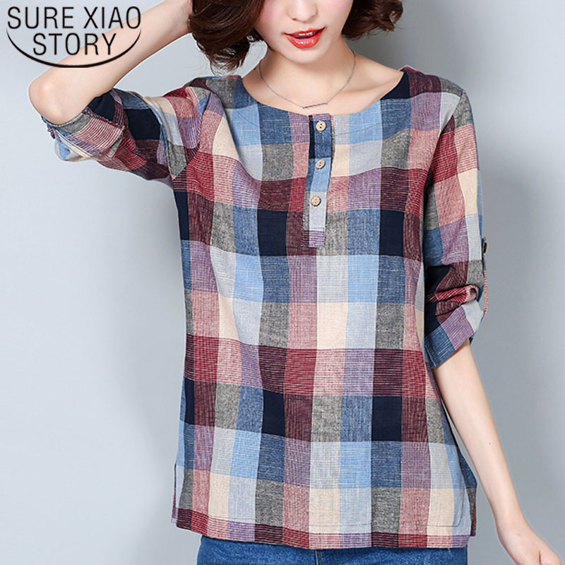 Women   blouse   and tops 2019 ladies tops Plaid   Shirt     shirts     blouse     shirts   Long Sleeve Korean clothing Female Tops Blusas 926F