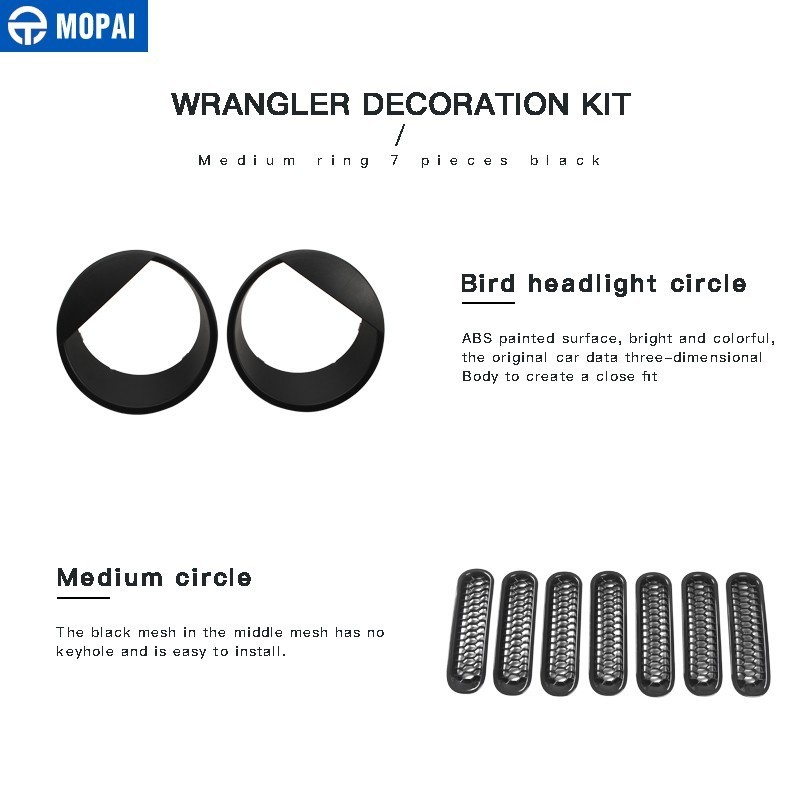 Image 2 - MOPAI 9 PCS Car Sticker Car Front Grilles Cover With Headlight Lamp Decoration Cover for Jeep Wrangler JK 2007+ Car Accessories-in Car Stickers from Automobiles & Motorcycles