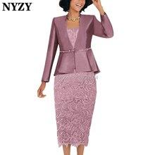 NYZY M137, 2 предмета, платья для матери невесты, пиджак,, розовое облегающее платье длиной до середины икры, свадебное платье для гостей, вечерние наряды, церковные костюмы