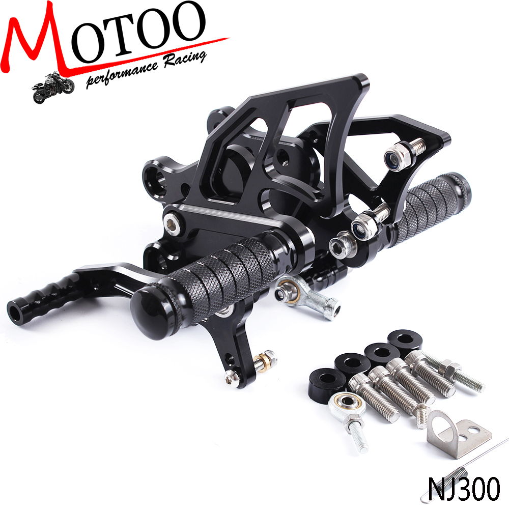 Motoo - Full CNC Aluminum Motorcycle Footpeg Adjustable Rearsets Rear Sets Foot Pegs For KAWASAKI NINJA300R NINJA 300  2013-2017