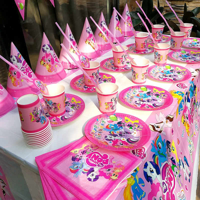 128 stks/partij Cartoon My Little Pony Kids Verjaardag Wegwerp Servies Sets Decoratie Kinderen Dag Bruiloft Event Supplies