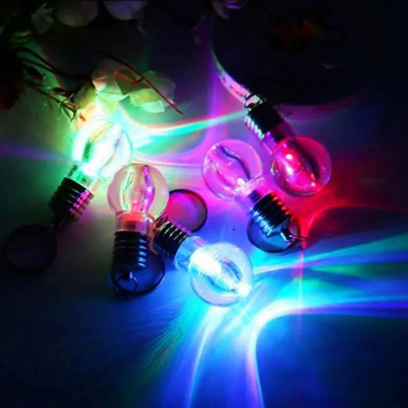 Mini Cute Key Chain Touch 7 Color Changing Led Light Lamp Bulb Keychain Toy