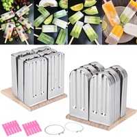 6Pcs 2 Style Round Head / Flat Head Stainless Steel Durable Summer DIY Popsicle Mold Ice Pop Lolly Ice Cream Stick Holder