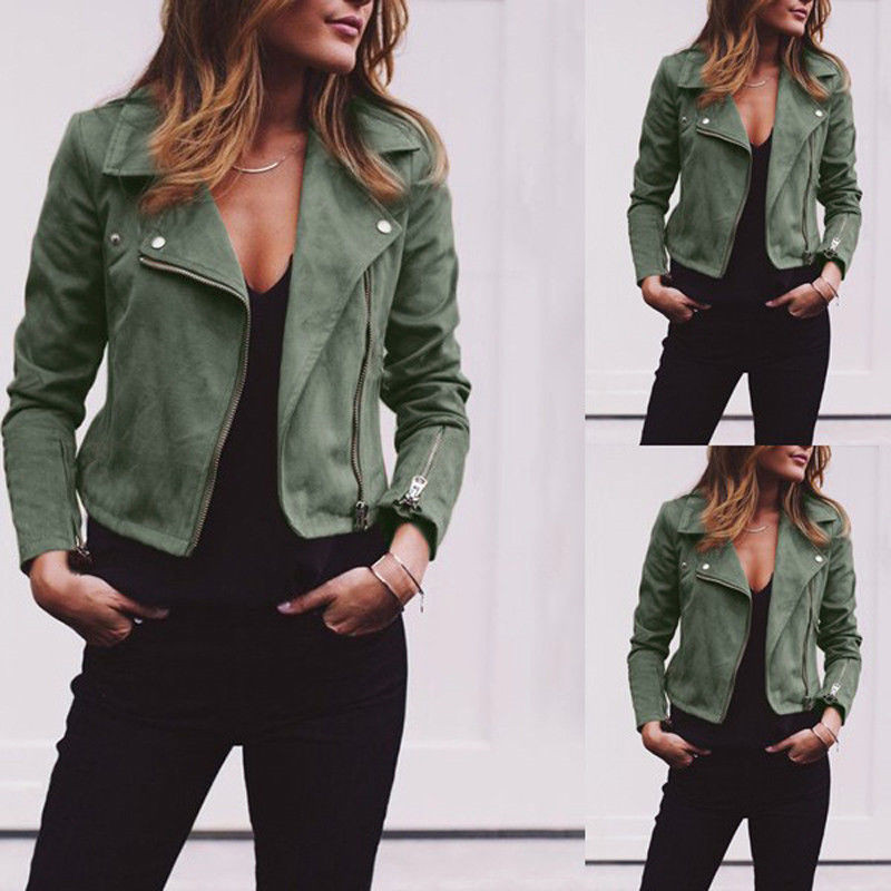Women 2019 PU Leather Outerwear Coats   Basic     Jackets   Ladies Retro Rivet Zipper Bomber Casual Winter Flight khaki   Jackets   Hot