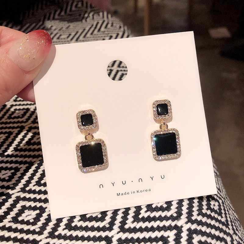 Tiny Geometric Black Square Star Drop Earrings for Women 2019 Fashion Enamel Crystal Earring Korean Gold Brincos Jewelry Gift