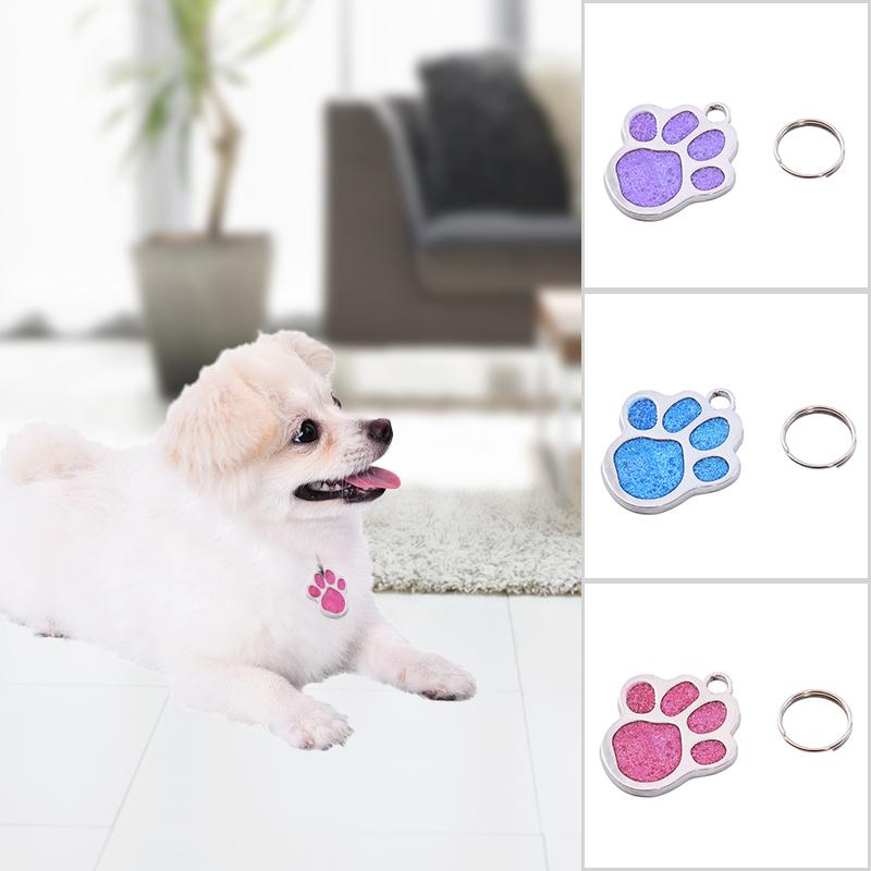 Name-Tag Pendant Pet-Dog Shaped ID Foot-Printed Pets-From-Getting Prevent Lost Portable