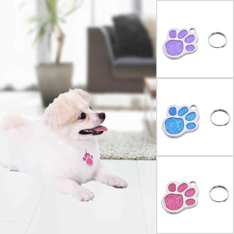 Foot Printed Shaped Pet Dog ID Name Tag Pet Dog Pendant Prevent Pets From Getting Lost Portable Identity Tag