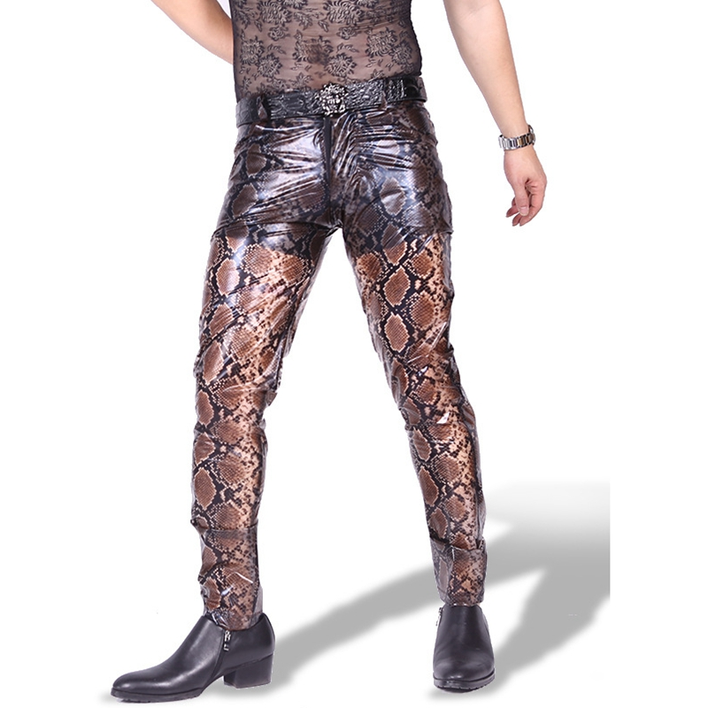 Sexy Men Snake Print Faux Leather Pants Fashion PVC See Through Glossy Stage Long Trousers Gay Nightclub Wear Plus Size