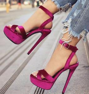 Moraima snc aksamitna platforma sandały na obcasie buty na obcasie Slingback sandały Sexy Peep Toe kostki pasek kobieta buty sandały letnie