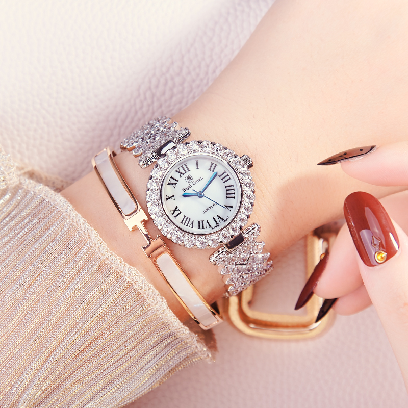 Image 4 - Luxury Jewelry Lady Womens Watch Fine Fashion Hours Prong  Setting Bracelet Rhinestone Gold Plated Girl Gift Royal Crown BoxQuartz  Watches