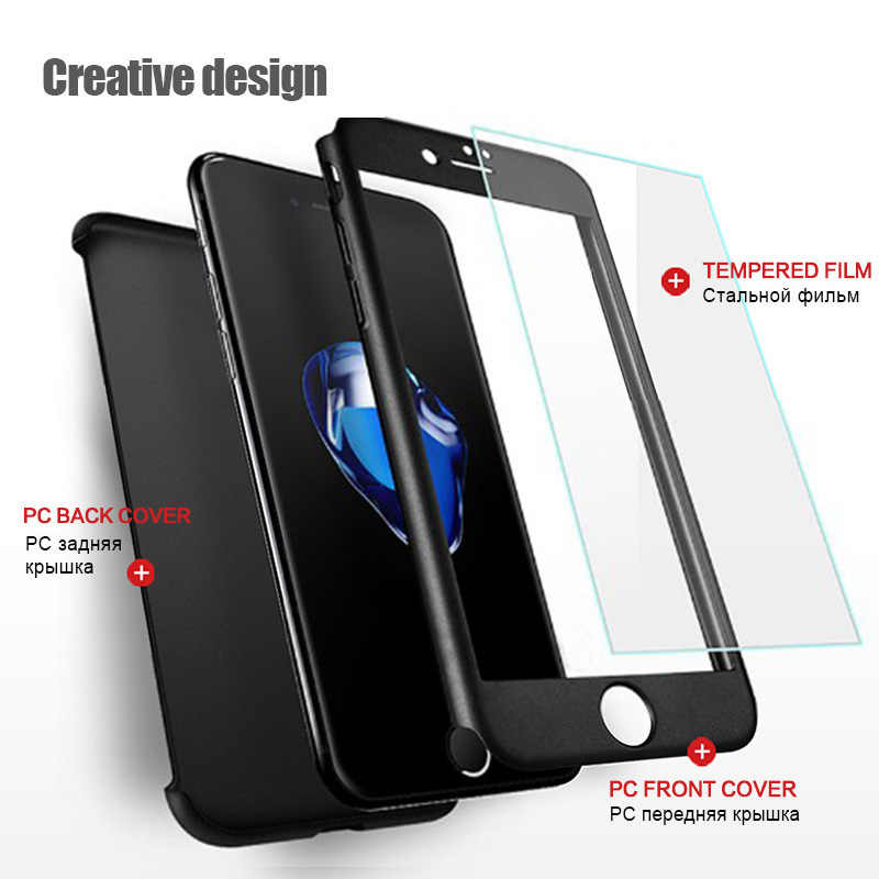 360 Degree Full Cover Phone Case For iPhone X Xs Max Xr 7 8 Plus With Tempered Glass Case Hard PC Shell 6 6S Plus X 5 5S SE Capa