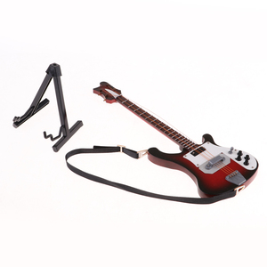 Image 4 - 20センチメートルミニチュア木製エレキベースギターモデル1/6アクションフィギュアアクセサリー #4