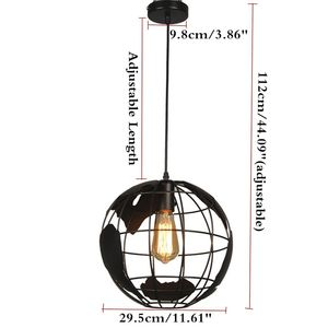 Image 4 - Nero loft creativo continental retrò unico globe lampadario Moderno metallic salotto casuale lampada da soffitto
