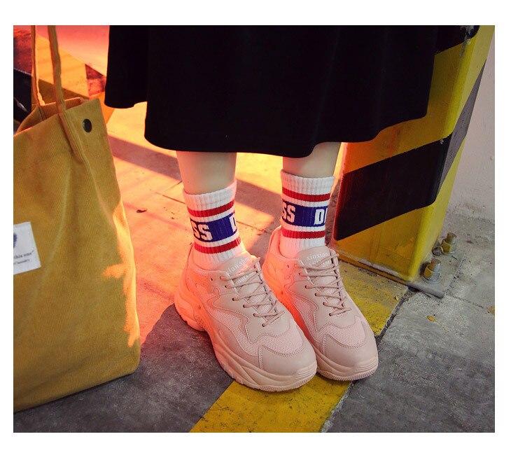 Respirantes Vulcaniser Mode pourpre De Épaisses Semelles Décontracté À Coudre Femmes blanc Solide forme Chaussures Med Hiver Plate Rose Baskets Lacets Pqw5U0