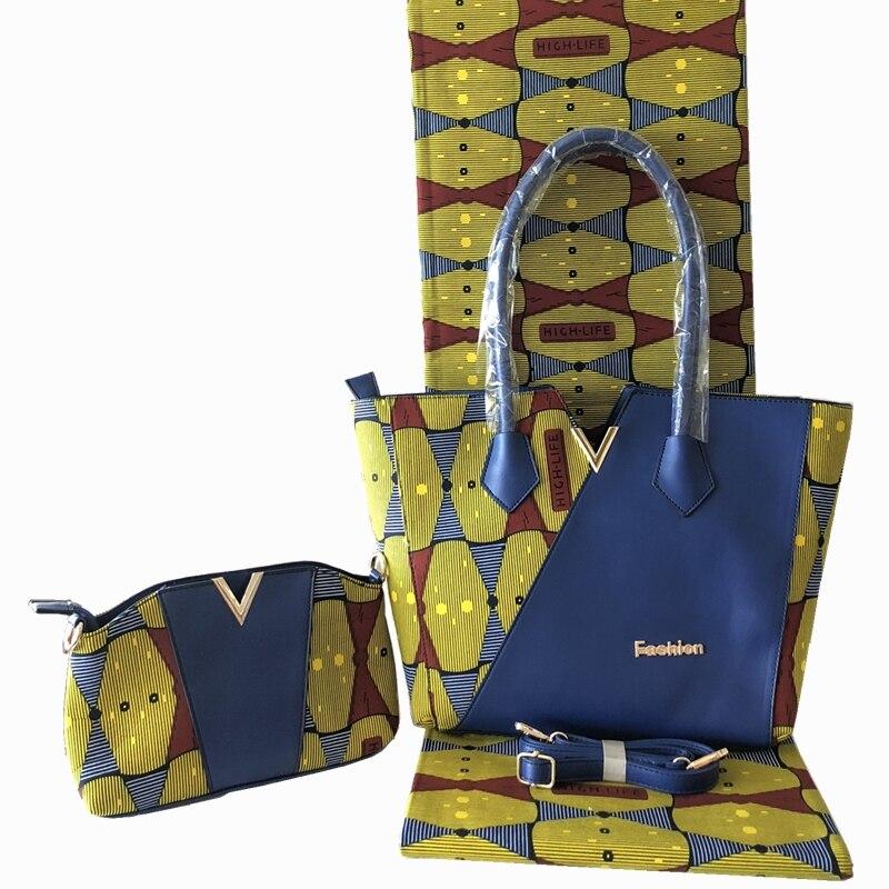 Neue Ankunft Afrikanische Dutch Wachs Tasche Und Wachs Fabirc Set Hohe Qualität frau Handtasche Mit 6 Yards Afrikanischen Wachs drucke Stoff-in Taschen mit Griff oben aus Gepäck & Taschen bei  Gruppe 3