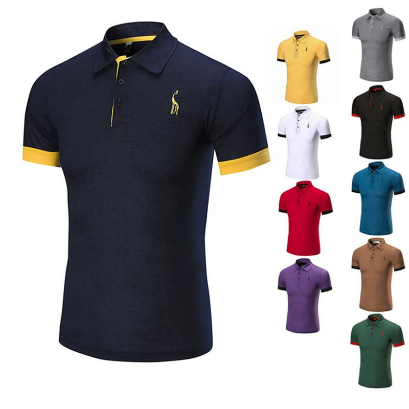 1f6ea7d279a9c New Hot Mens Polo Shirt Brands Male Short Sleeve Fashion Casual Slim Deer  Embroidery Breathable Polos