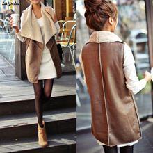 Comfortable Autumn Spring Women Faux Fur Vest Lady Warm Cream Waistcoat Long Gilet Jacket Outerwear Laipelar