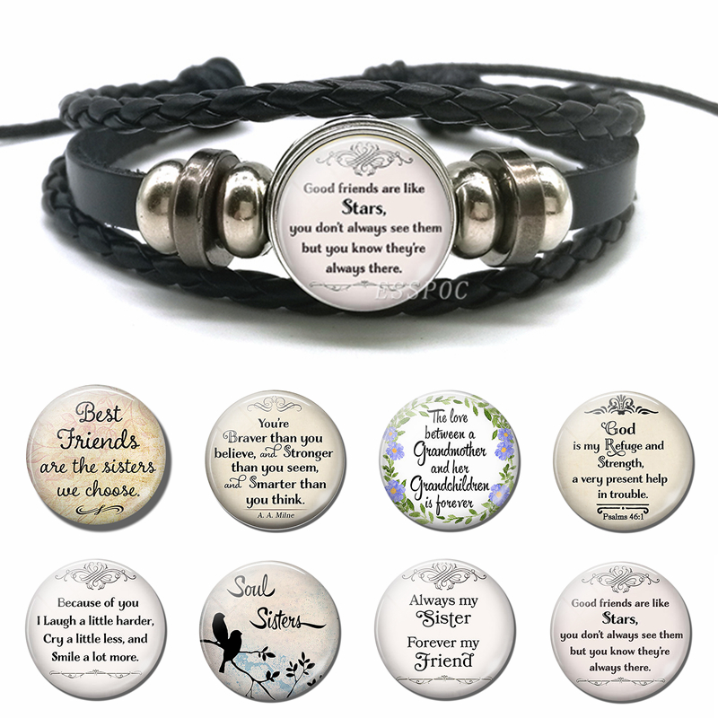 Good Friends Are Like Stars Inspirational Bible Verse Quote Bracelet Glass Dome Jewelry Black Leather Bangle Soul Sisters Gift image