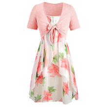 Plus Size Floral Print Summer Boho Dress With Knot Crop Tops Women Chiffon Dress Shirt Long Tunic Casual A-Line Midi Beach Dress