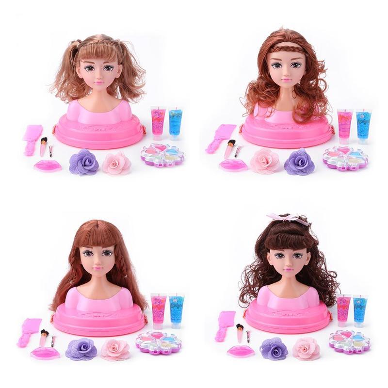 Toys & Hobbies Diplomatic 17x18cm Half Body Makeup Hairstyle Doll Cosmetics Head Kid Pretend Play Toy Learning Educational Makeup Pretend Play Toy For Kid Elegant Appearance Pretend Play