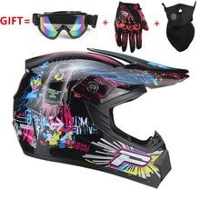 Adulto moto motocross Off Road Casco ATV Dirt bike Downhill MTB DH casco da corsa croce con spedizione goggle & guanti e maschera