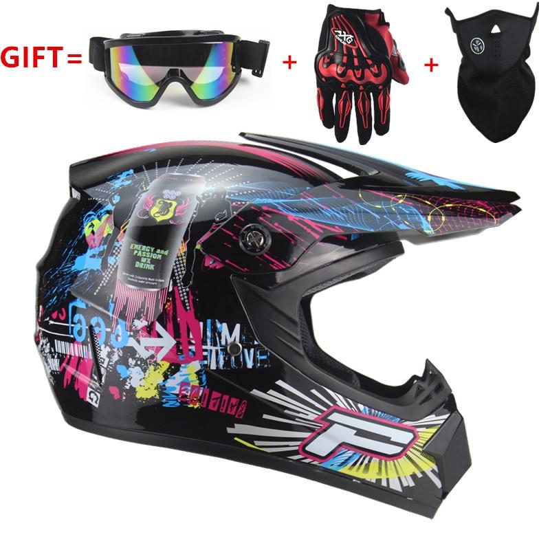Erwachsene motorrad motocross Off Road Helm ATV Dirt bike Downhill MTB DH racing helm kreuz mit freies goggle & handschuhe & maske