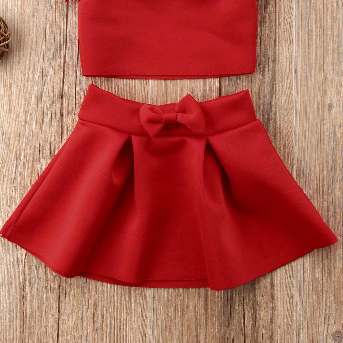 2 sztuk noworodka dla dzieci Baby Girl Party Off ramię Crop topy krótka koszula Mini spódnica strój stałe ubrania zestaw