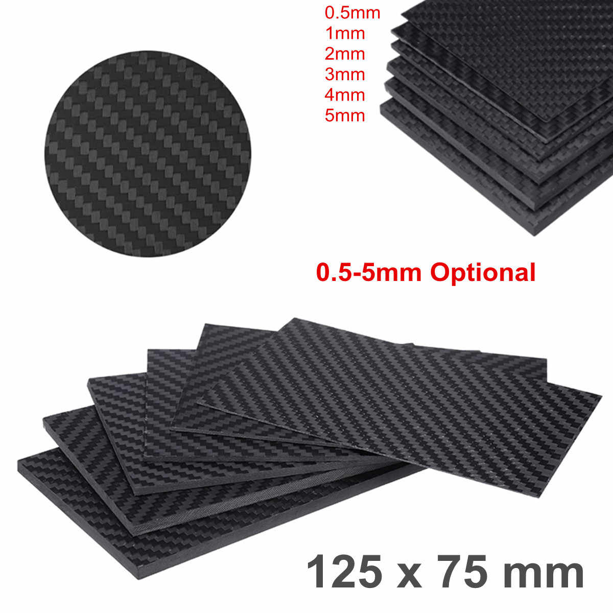 0.5-5MM 125X75 mm 3K Matte Surface Twill Carbon Plate Panel Sheets High Composite Hardness Material Anti-UV Carbon Fiber Board