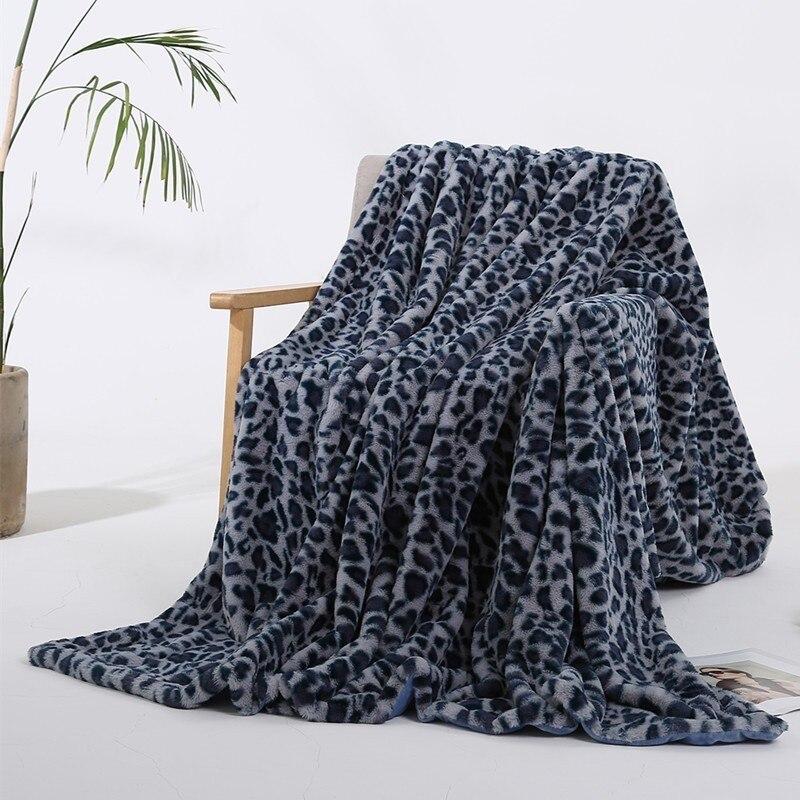 Mode imprimé léopard feuilles de couverture floue Super doux chaud lapin fourrure cristal court peluche literie canapé couverture 130*160 cm/160*200 cm