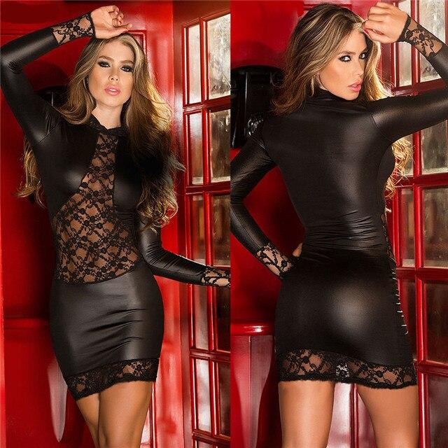 Mode Sexy dentelle noire Wetlook robe chaussures en faux cuir pour femmes gothique à manches longues moulante fétiche Clubwear Sexy danse Club robes