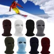 Теплые ветрозащитные шапки унисекс, 2 отверстия, лыжная маска, Балаклава, черная вязаная шапка, лицевая защита, шапочки, теплые зимние шапочки