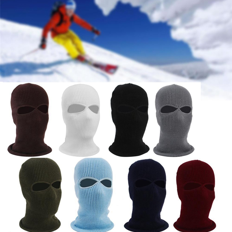 Warm Windproof Unisex Hats 2 Hole Ski Mask Balaclava Black Crochet Knit Hat Face Shield   Beanie   Caps Snow Warm Winter   Beanies