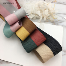 kewgarden 40mm 4cm Double Color Joining Together Satin Ribbons DIY Bowknot Accessories Cotton Ribbon Handmade Tape Riband 6M/lot