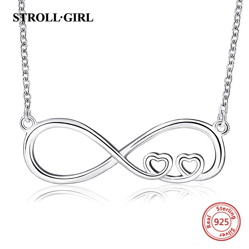 StrollGirl 100 925 sterling silver simple design heart infinity necklaces pendants diy fashion jewelry making for women gift in Chain Necklaces from Jewelry Accessories