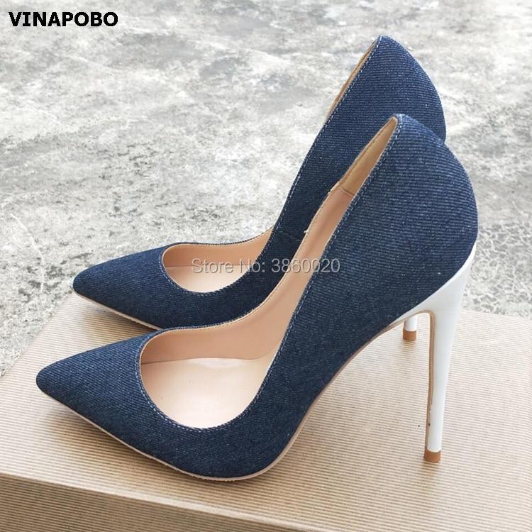 2019 Vinapobo printemps automne été bleu Denim chaussures talons aiguilles à bout pointu pompes pour femmes robe de soirée pompes de mariage