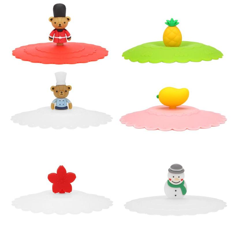 Hot Silicone Leakproof Cup Lids Heat Resistant Reusable Bear Snowman Sealed Cover Kitchen Accessories Tea Cup Seal Cap Cup Lids