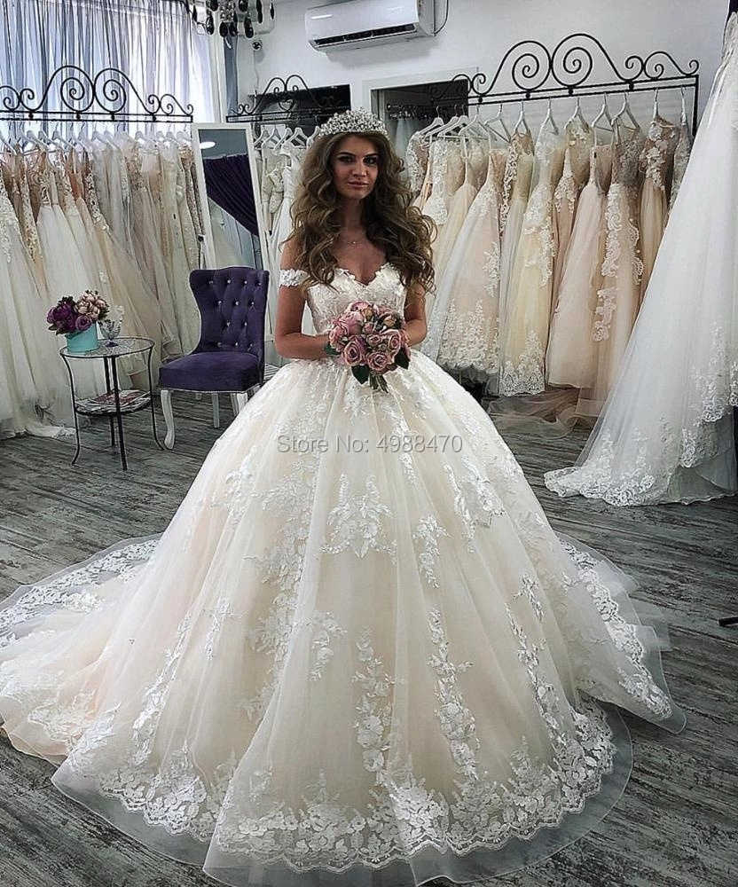 Cheap Off The Shoulder Ball Gown Wedding Dress 2019 Robe De Mariee Lace Appliques Wedding Dresses Vestido De Novias Bridal Gowns