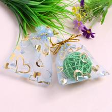 50Pcs/lot Organza Gifts Bags Wedding Favors Christmas Candy Bags Packaging Pouch Wedding Decoration Party Supplies