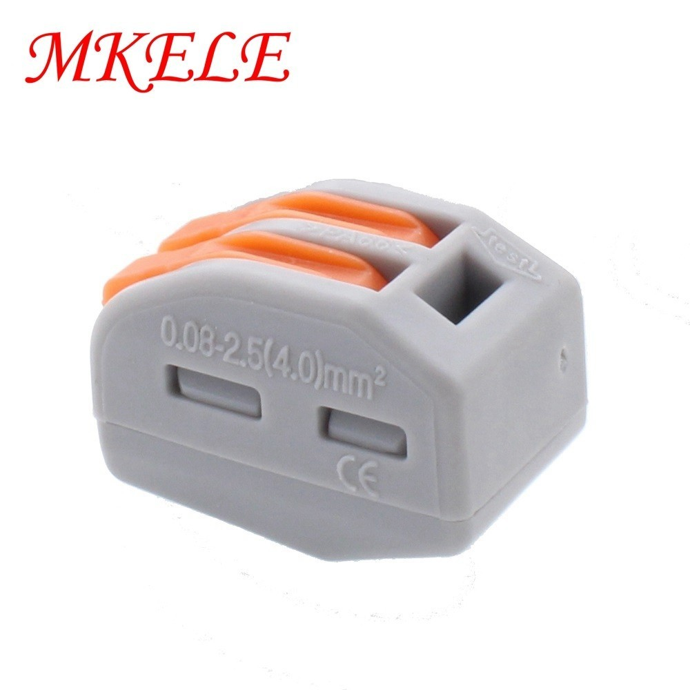 10pcs MKELE 222 412 PCT212 Universal Compact Wire Wiring Connector 2 pin Conductor Terminal Block With Lever 0 08 2 5mm2 in Connectors from Lights Lighting