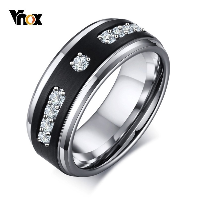 Vnox Luxury Micro-inlay AAA CZ Stone Rings for Men Tungsten Carbide 8MM Black Male Wedding Bands Casual Anel Size #8-#12Vnox Luxury Micro-inlay AAA CZ Stone Rings for Men Tungsten Carbide 8MM Black Male Wedding Bands Casual Anel Size #8-#12