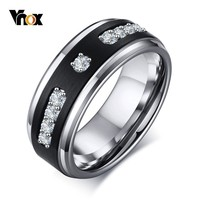Vnox Luxury Micro inlay AAA CZ Stone Rings for Men Tungsten Carbide 8MM Black Male Wedding Bands Casual Anel Size #8 #12