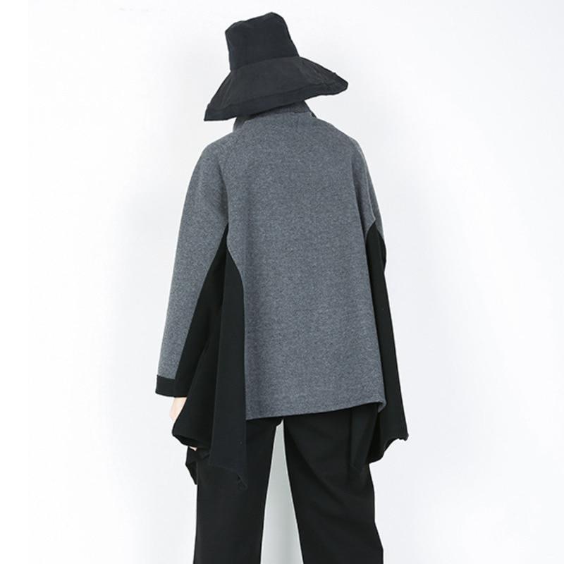 2018 A Sweatshirt Lose WintergrauSchwarzer Line Hop Frauenbergro Lang SchwarzSchiefer gesplei Dick Rollkragen Farbe 1108 Hip t e Warm Streetwear OlZwkPiuTX