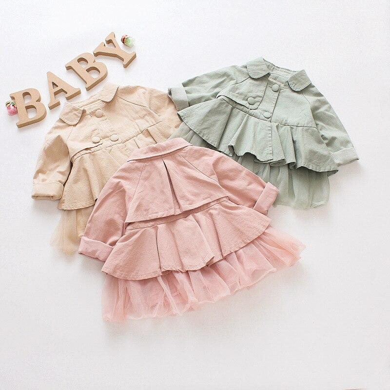 2018 Neue Herbst Baby Mädchen Kinder Koreanische Version Der Baumwolle Windjacke Lange ärmeln Prinzessin Mantel