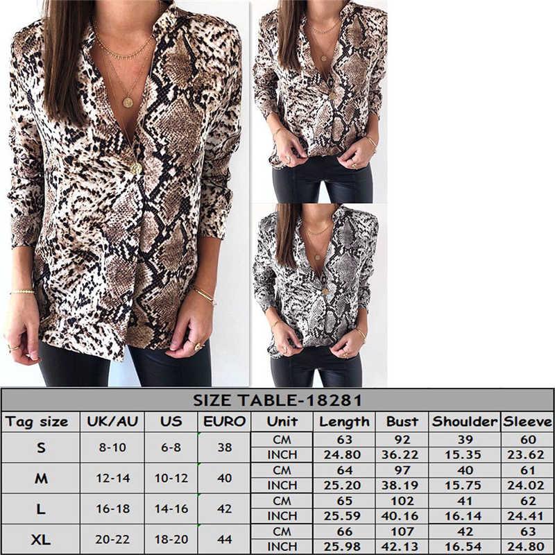 fdc563315b85b ... Sexy Snakeskin Print Shirt Fashion Ladies Shirts And Tops V Neck Shirt  Women Blouses Casual Sexy ...