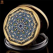 라마단 카림 팔각형 사우디 아라비아 이슬람 골드 도금 복제 소장 동전과 휴일 선물