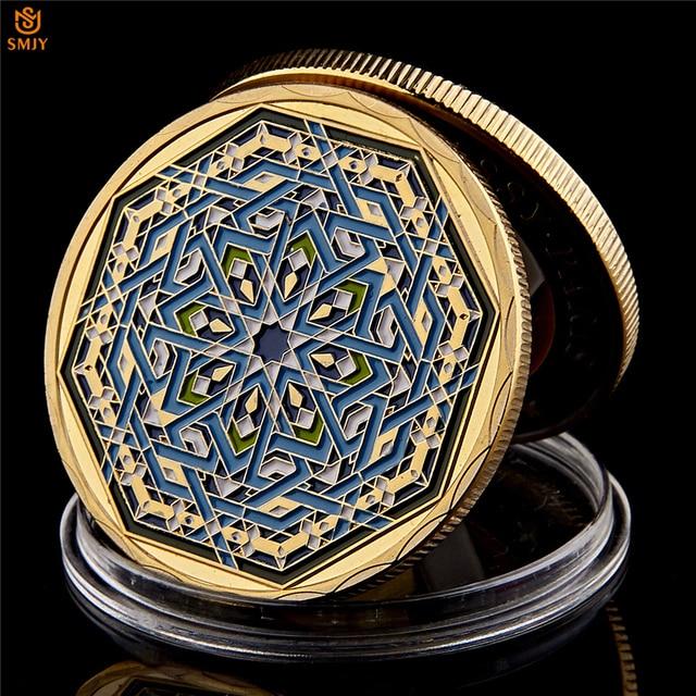 Ramadan kareem octogonal árabe saudita islâmico ouro chapeado réplica colecionável moeda e presente de férias